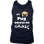 My Pug Drives Me Crazy Men's Tank Top Navy