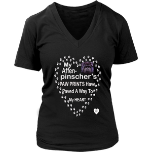 Affenpinscher Mom V-Neck Black
