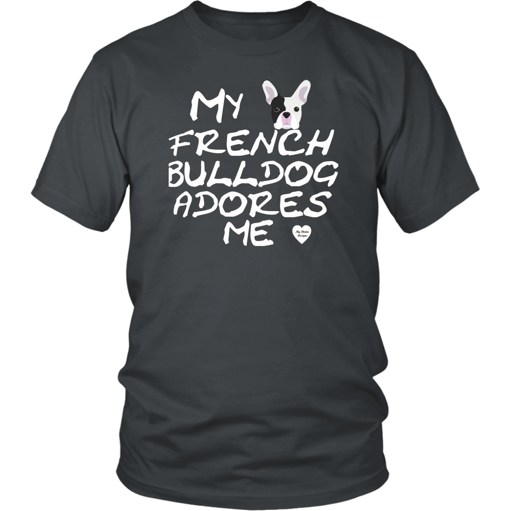 French Bulldog Adores Me T-Shirt Charcoal