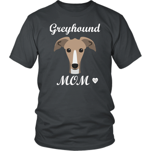 greyhound mom charcoal t-shirt