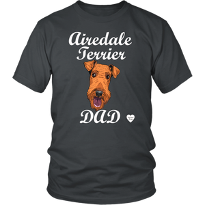 Airedale Terrier Dad T-Shirt Charcoal