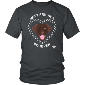 Chocolate Lab Best Friends Forever T-Shirt Charcoal