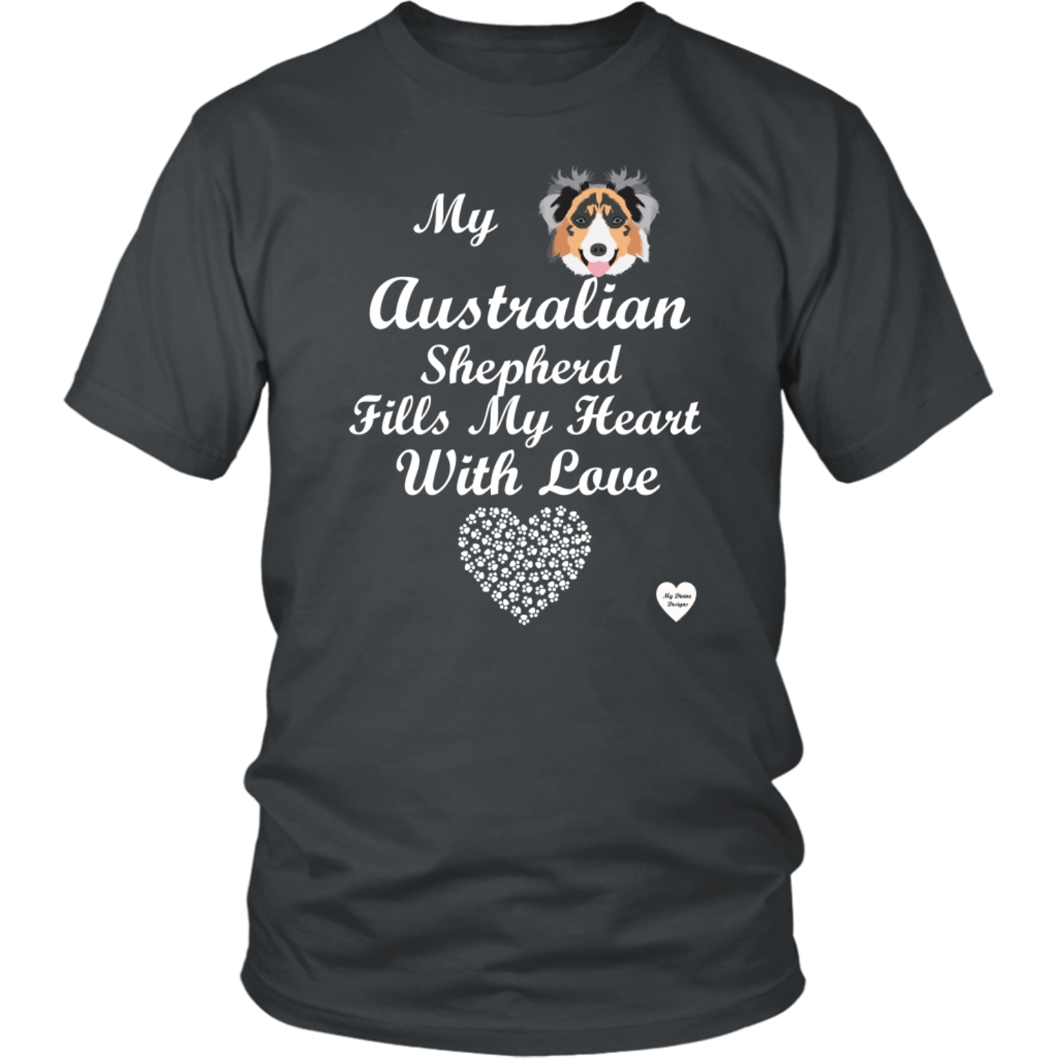 australian shepherd fills my heart t-shirt charcoal