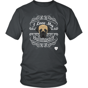 I Love My Bullmastiff T-Shirt Charcoal