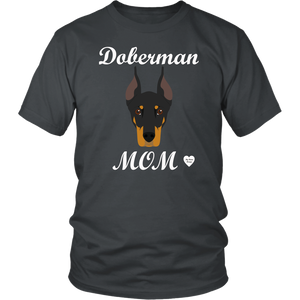 doberman mom charcoal t-shirt