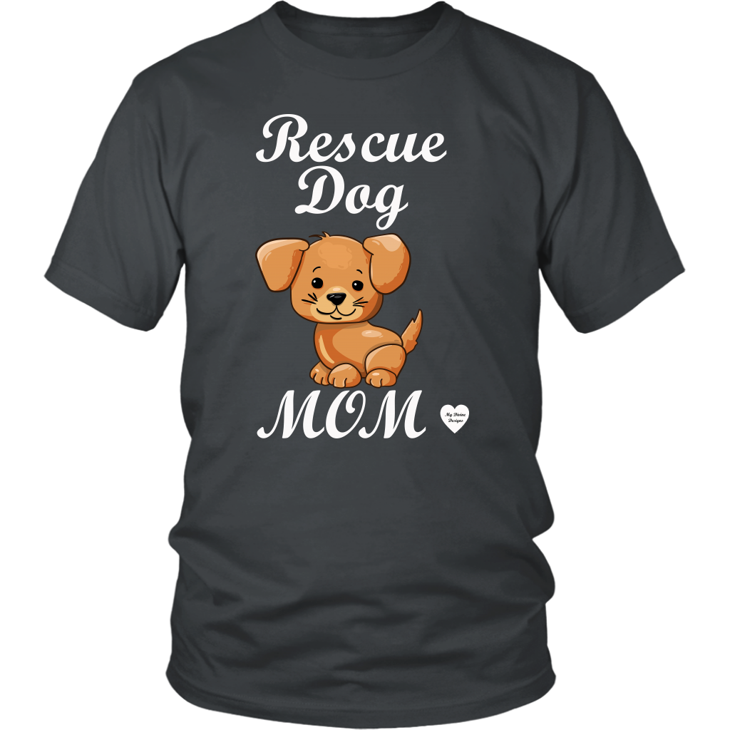 rescue dog mom t-shirt charcoal