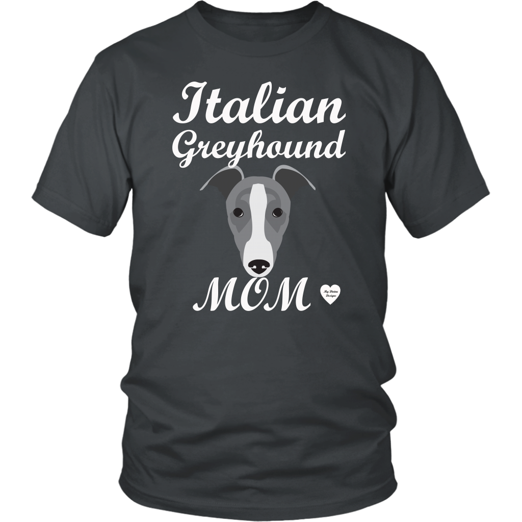 italian greyhound mom charcoal t-shirt
