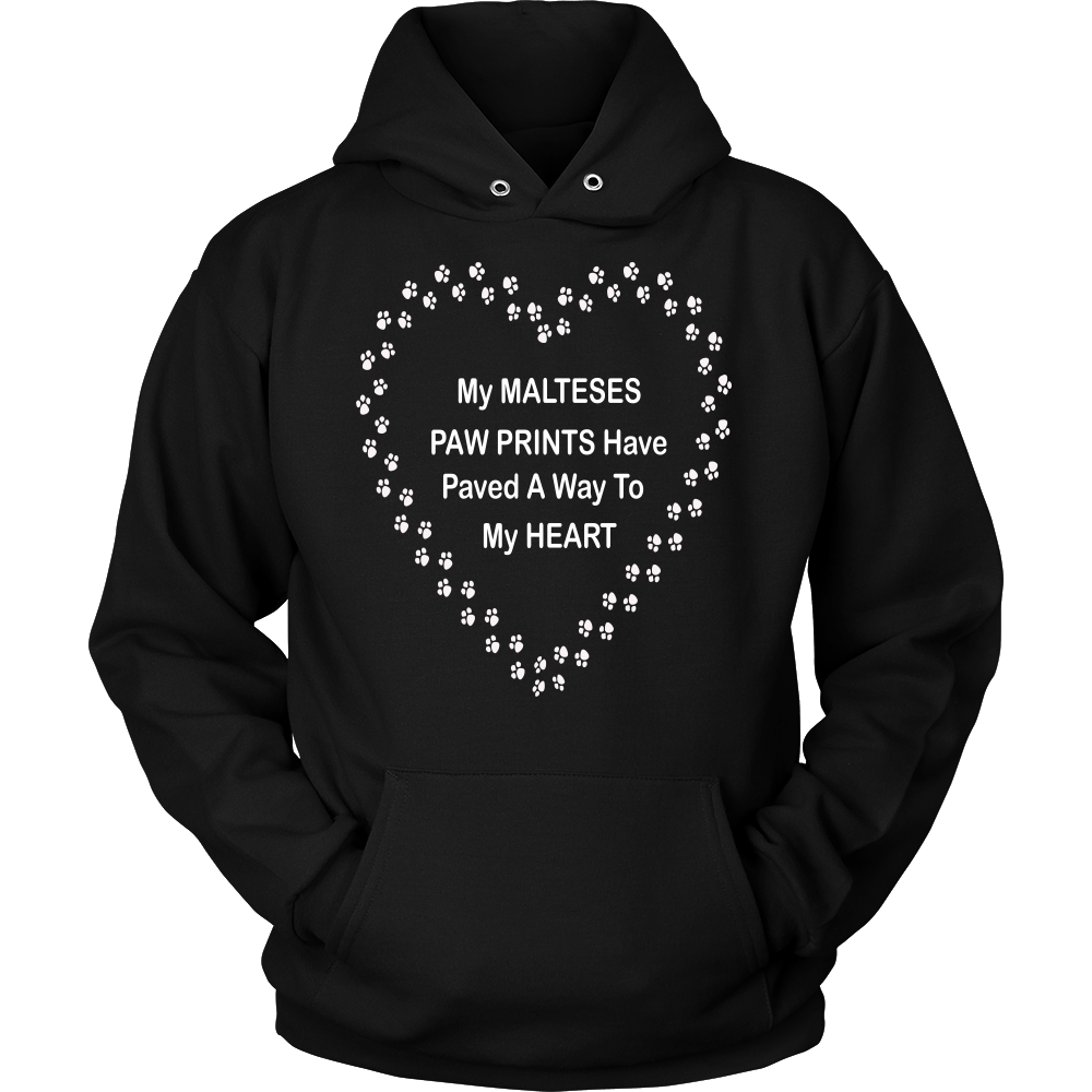Maltese Paw Prints To My Heart Hoodie