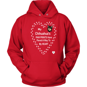 My Chihuahua's Paw Prints - Black - Hoodie Red