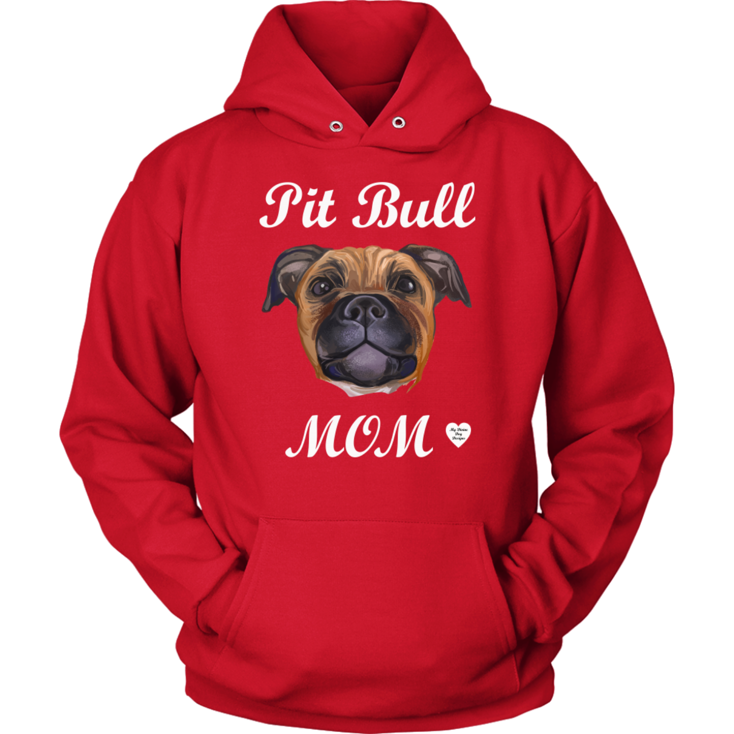 Pit Bull Mom Tan Hoodie Red
