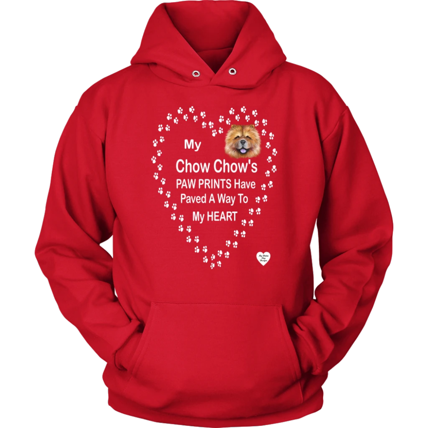 My Chow Chow's Paw Prints - Tan- Hoodie Red