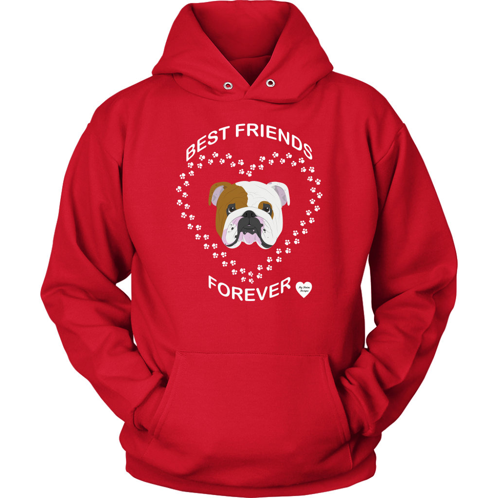 English Bulldog Best Friends Forever Hoodie Red