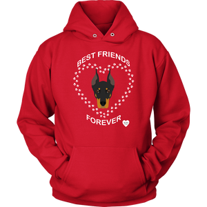 Doberman Best Friends Forever Hoodie Red