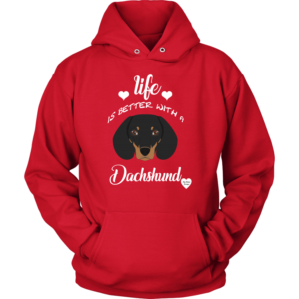 Life Is Better With A Dachshund Hoodie Red