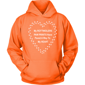 Rottweiler Paw Prints To My Heart Hoodie