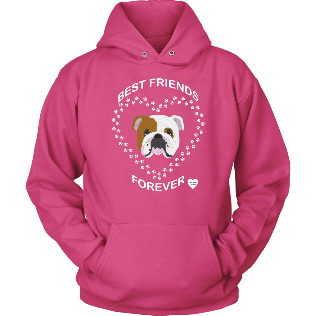 English Bulldog Best Friends Forever Hoodie Sangria