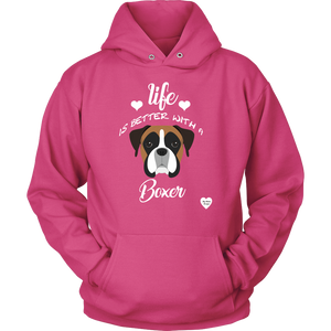 Life Is Better With A Boxer Hoodie Sangria