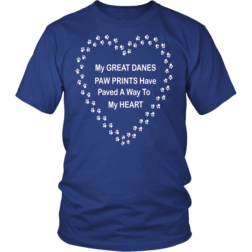 Great Danes Paw Prints to Heart T-Shirt