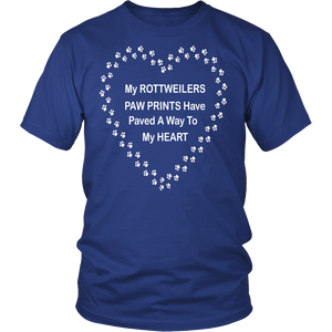 Rottweilers Paw Prints to My Heart T-Shirt