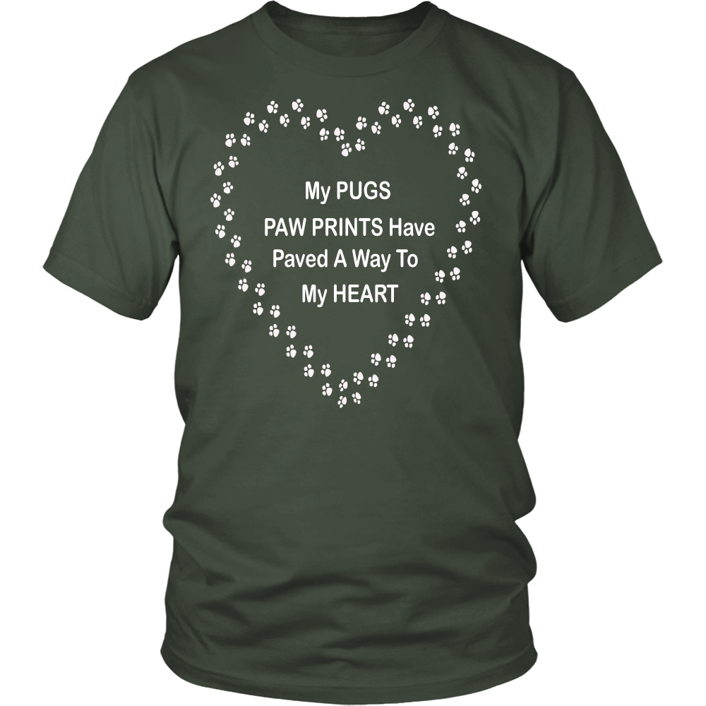 Pug Paw Prints to My Heart T-Shirt