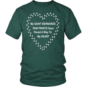 Saint Bernards Paw Prints to My Heart T-Shirt