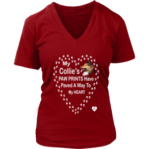 My Collie's Paw Prints V-Neck Red