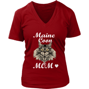 Maine Coon Mom V-Neck Red