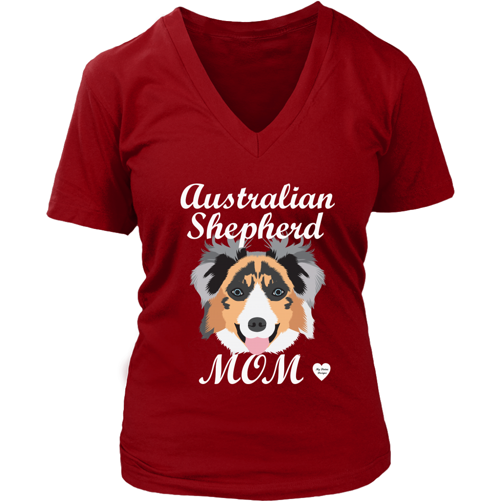australian shepherd mom shirt red