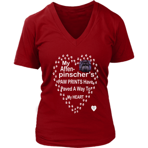 Affenpinscher Paw Prints V-Neck Red