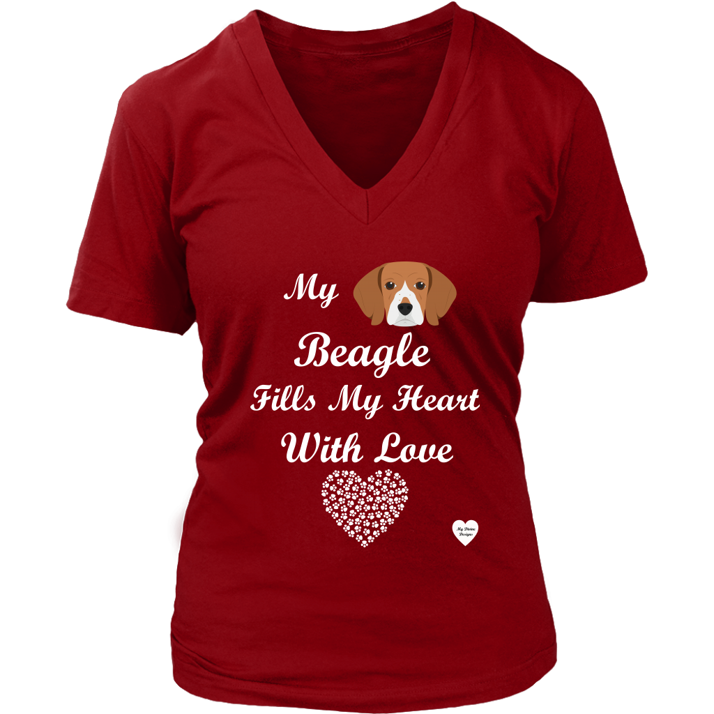 Beagle Fills My Heart V-Neck