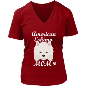 american eskimo mom v neck shirt red