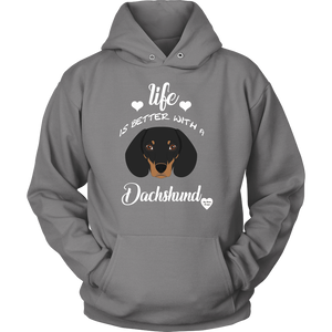 Life Is Better With A Dachshund Hoodie Grey