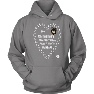 My Chihuahua's Paw Prints - Black - Hoodie Grey