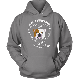 English Bulldog Best Friends Forever Hoodie Grey