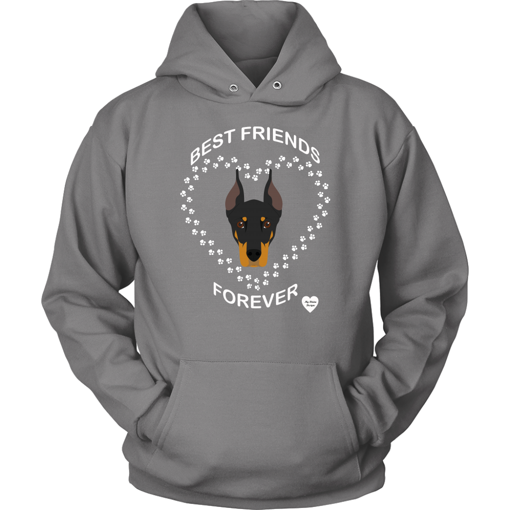 Doberman Best Friends Forever Hoodie Grey