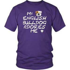 English Bulldog Adores Me T-Shirt Purple