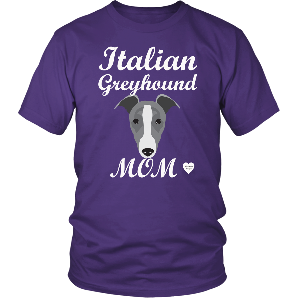 italian greyhound mom purple t-shirt