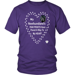 My Newfoundland's Paw Prints T-Shirt Purple