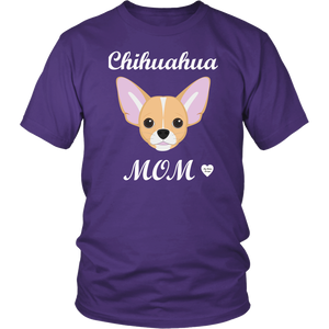 chihuahua mom purple t-shirt