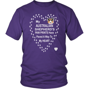 australian shepherd paw prints t-shirt purple