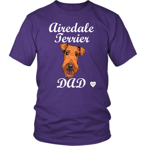 Airedale Terrier Dad T-Shirt Purple