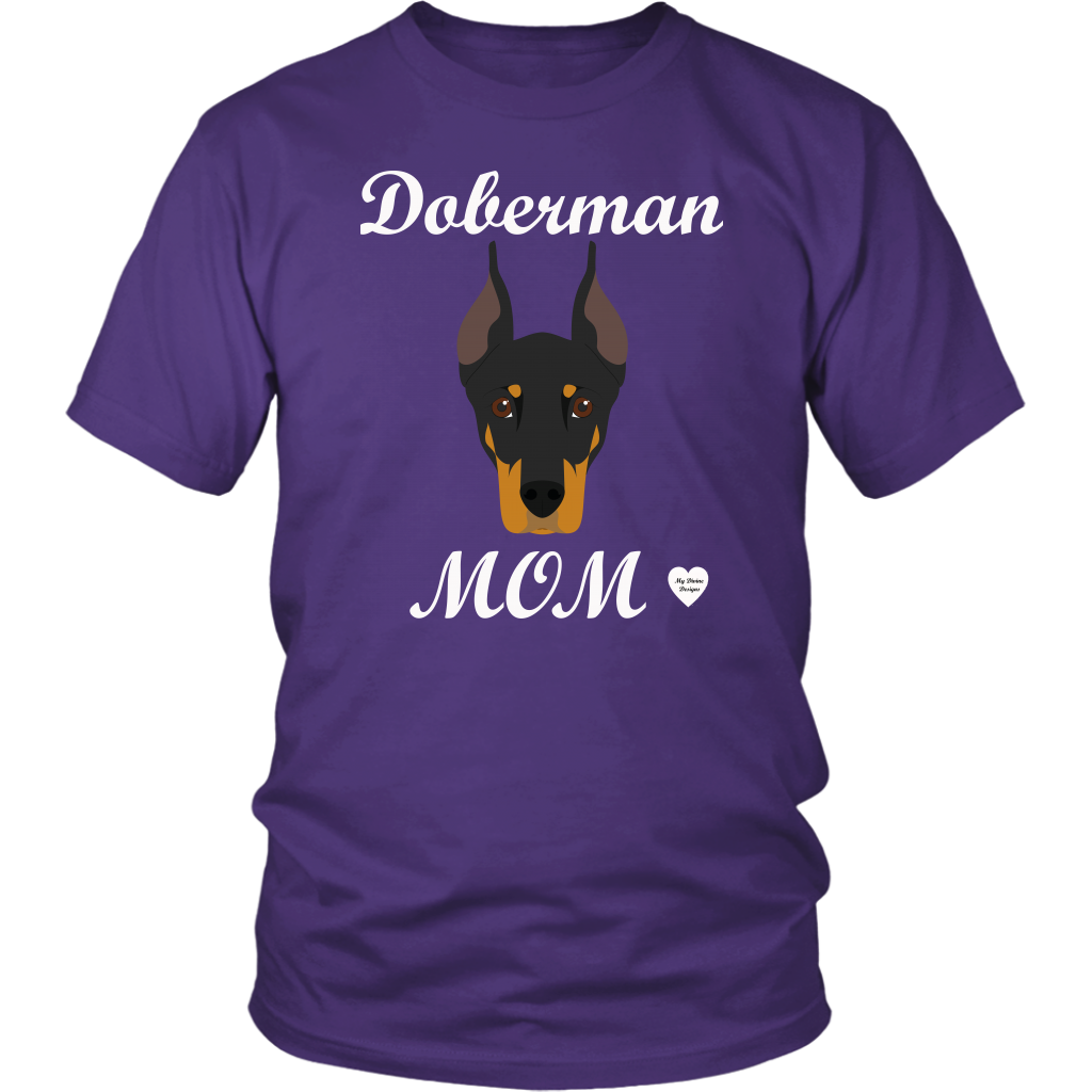 doberman mom purple t-shirt