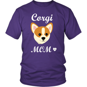 corgi mom purple t-shirt