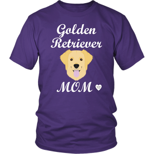 golden retriever mom purple t-shirt