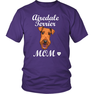 airedale terrier mom t-shirt purple