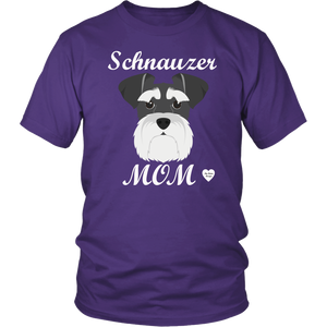 Schnauzer Mom purple t-shirt