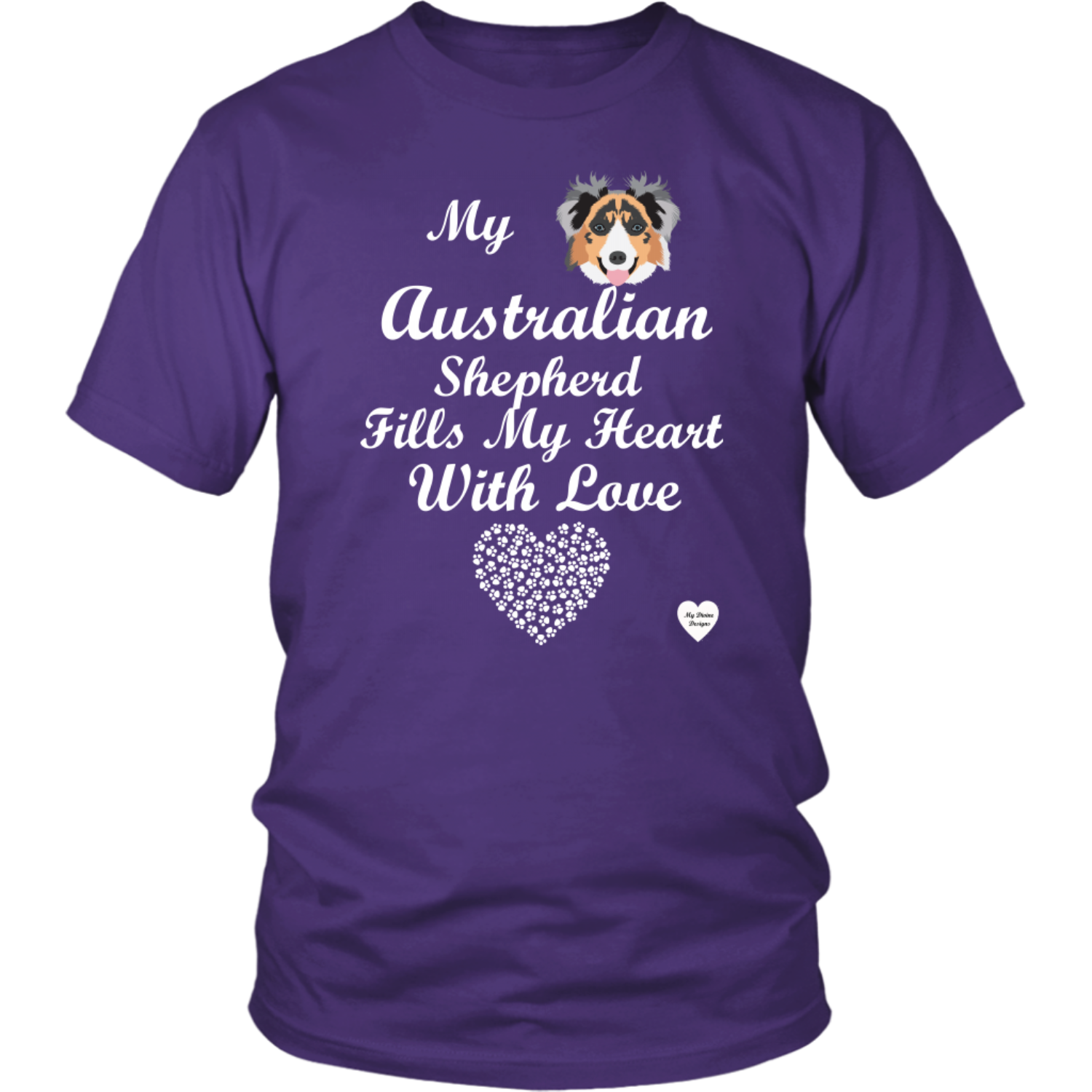 australian shepherd fills my heart t-shirt purple