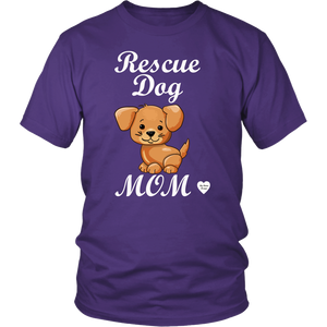rescue dog mom t-shirt purple