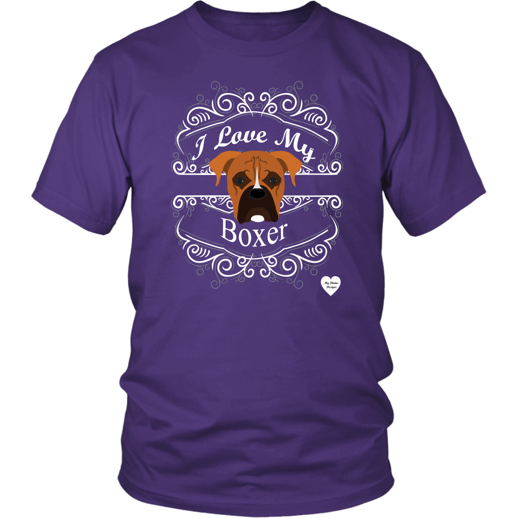 I Love My Boxer T-Shirt Purple