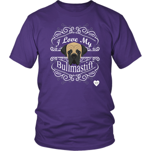 I Love My Bullmastiff T-Shirt Purple